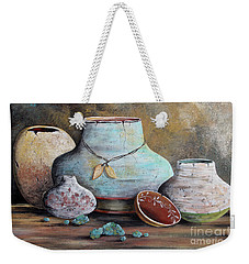Weekender Tote Bag featuring the painting Clay Pottery Still Lifes-b by Jean Plout