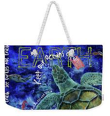 Weekender Tote Bag featuring the digital art Clean Oceans Sea Turtle Art by Nola Lee Kelsey