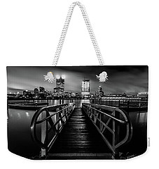 Clearing Skies In Milwaukee Monochrome Weekender Tote Bag by Randy Scherkenbach
