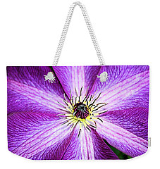 Weekender Tote Bag featuring the photograph Clematis Close Up by Kristin Elmquist