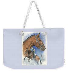 Weekender Tote Bag featuring the painting Cleveland Bay by Barbara Keith