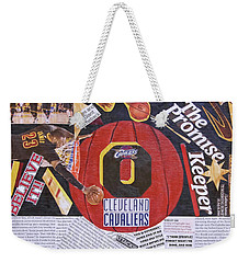 Weekender Tote Bag featuring the painting Cleveland Cavaliers 2016 Champs by Colleen Taylor