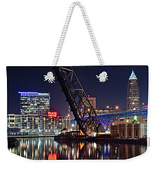 Weekender Tote Bag featuring the photograph Cleveland Flats East Bank by Frozen in Time Fine Art Photography