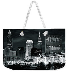 Cleveland Iconic Night Lights Weekender Tote Bag by Frozen in Time Fine Art Photography