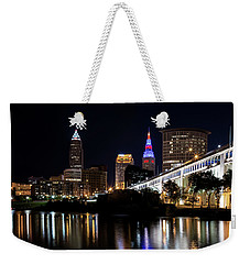 Weekender Tote Bag featuring the photograph Cleveland In The World Series 2016 by Dale Kincaid