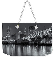 Cleveland Night Skyline IIi Weekender Tote Bag by Clarence Holmes