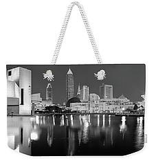 Cleveland Skyline At Dusk Black And White Weekender Tote Bag