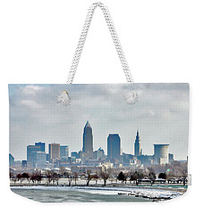 Weekender Tote Bag featuring the photograph Cleveland Skyline In Winter by Bruce Patrick Smith