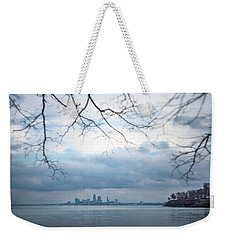 Cleveland Skyline With A Vintage Lens Weekender Tote Bag