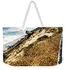 Weekender Tote Bag featuring the digital art Cliff View - Carlsbad Ponto Beach by Rhonda Strickland