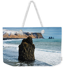 Weekender Tote Bag featuring the photograph Cliffs And Ocean In Iceland Reynisfjara by Matthias Hauser