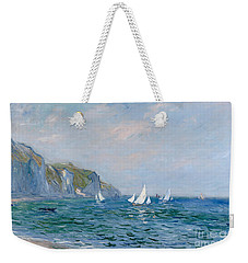 Cliffs And Sailboats At Pourville  Weekender Tote Bag by Claude Monet