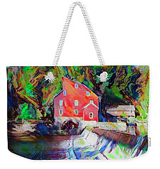 Clinton New Jersey -the Red Mill  On The Raritan River  Watercol Weekender Tote Bag by Bill Cannon