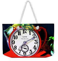 Clock In The Garden Painting  Weekender Tote Bag