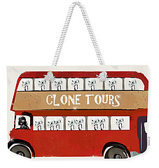 Weekender Tote Bag featuring the painting Clone Tours by Bri B