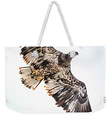 Close Call  With A Bald Eagle Weekender Tote Bag by Ricky L Jones