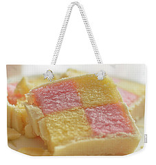 Weekender Tote Bag featuring the photograph Close Up Of Battenberg Cake B by Jacek Wojnarowski