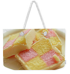 Weekender Tote Bag featuring the photograph Close Up Of Battenberg Cake E by Jacek Wojnarowski