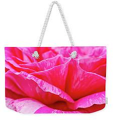 Close Up Of Variegated Pink And White Rose Petals Weekender Tote Bag