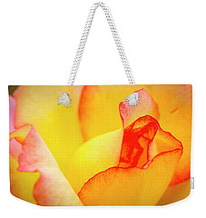 Close Up Of Yellow And Pink Rose Weekender Tote Bag