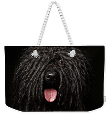 Close Up Portrait Of Puli Dog Isolated On Black Weekender Tote Bag