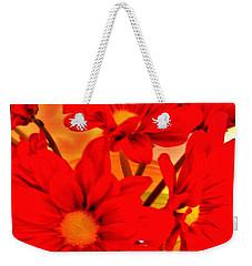Close Up Red Gerbers Weekender Tote Bag by Marsha Heiken