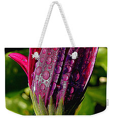 Closed Daisy With Rain Drops Weekender Tote Bag by Pamela Walton