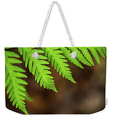 Weekender Tote Bag featuring the photograph Closeup Macro Of Green Leaves Show Textured Of The Organs With S by Jingjits Photography