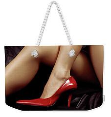 Closeup Of Sexy Bare Legs In Red High Heels Weekender Tote Bag