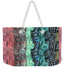 Weekender Tote Bag featuring the digital art Cloth Craft Work Flower Patterns Made Of Tshirt Sleeves Fashion Couture Christmas Birthday Holidays  by Navin Joshi