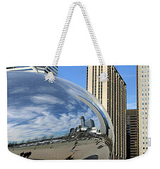 Weekender Tote Bag featuring the photograph Cloud Gate Reflections by Kristin Elmquist