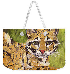 Weekender Tote Bag featuring the painting Clouded Cat by Jamie Frier