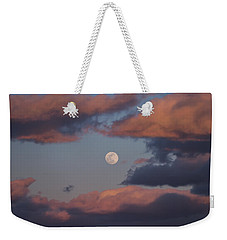 Weekender Tote Bag featuring the photograph Clouds And Moon March 2017 by Terry DeLuco