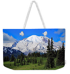 Weekender Tote Bag featuring the photograph Clouds Clearing At Mount Rainier 2 by Lynn Hopwood