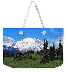 Weekender Tote Bag featuring the photograph Clouds Clearing At Mount Rainier by Lynn Hopwood