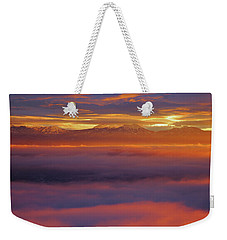 Clouds Of Fire Surround The La Sal Mountains From Dead Horse Point State Park Weekender Tote Bag