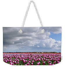 Clouds Over Purple Tulips Weekender Tote Bag by Mihaela Pater