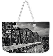 Weekender Tote Bag featuring the photograph Clouds Over Walnut Street Bridge In Black And White by Greg Mimbs