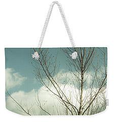 Cloudy Blue Sky Through Tree Top No 2 Weekender Tote Bag by Ben and Raisa Gertsberg