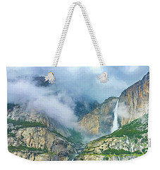 Cloudy Day At Yosemite Falls Digital Watercolor Weekender Tote Bag