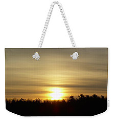 Weekender Tote Bag featuring the photograph Cloudy Golden Sky At Dawn by Kent Lorentzen