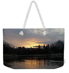 Weekender Tote Bag featuring the photograph Cloudy Mississippi River Sunrise by Kent Lorentzen