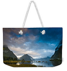 Cloudy Morning At Milford Sound At Sunrise Weekender Tote Bag
