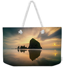 Cloudy Sunset At Cannon Beach Weekender Tote Bag