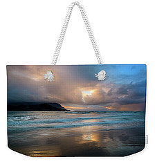 Weekender Tote Bag featuring the photograph Cloudy Sunset At Hanalei Bay by John Hight