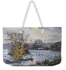 Cloudy Sunset In Niagara Falls River  Weekender Tote Bag