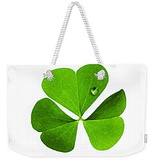 Weekender Tote Bag featuring the photograph Clover And Water Droplet by Roger Bester