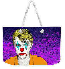 Weekender Tote Bag featuring the drawing Clown David Bowie by Jason Tricktop Matthews