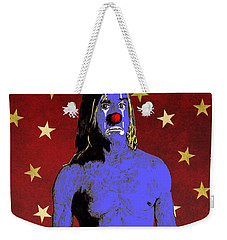 Weekender Tote Bag featuring the drawing Clown Iggy Pop by Jason Tricktop Matthews