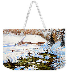 Weekender Tote Bag featuring the painting Clubhouse In Winter by Sher Nasser